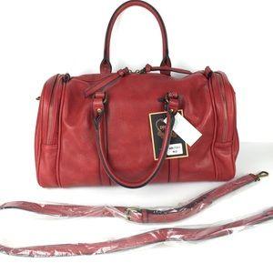 Vegan aged leather rust red doctors purse satchel